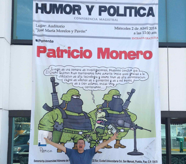 humor y politica. Patricio en la BUAP.Destacada